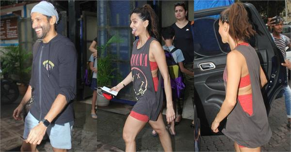 farhan spotted outside the sports club in bandra with girlfriend shibani