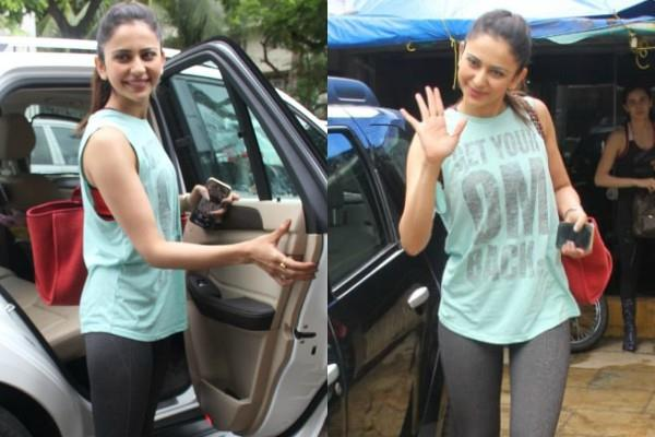 rakul preet singh spotted outside the gym in bandra