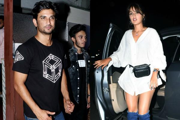 sushant singh rajput spotted at bandra with girlfriend rhea chakraborty