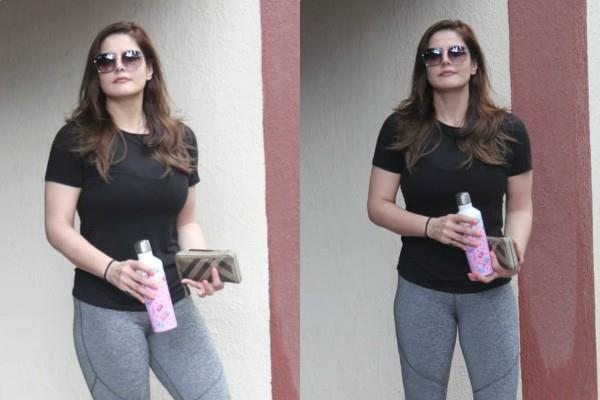 zareen khan spotted outside the gym