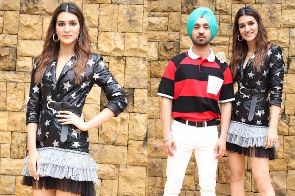 kriti sanon diljit dosanjh spotted at jw marriott in juhu for film promotion