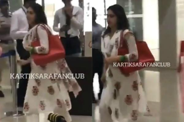 sara ali khan running at the airport