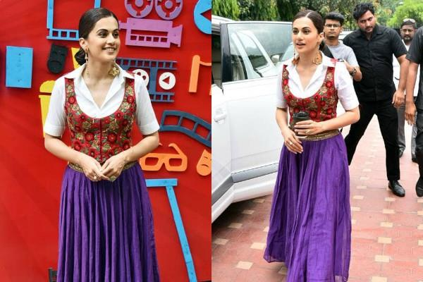 taapsee pannu looks stunning in indo western dress