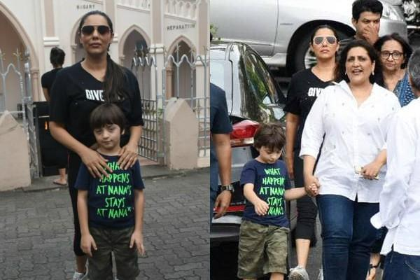 gauri khan spotted outside the church with son abram khan