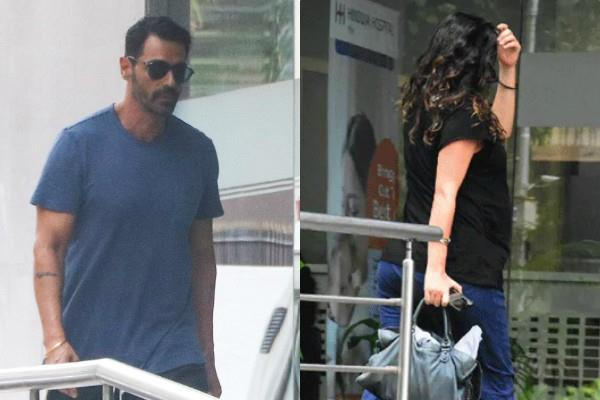 arjun rampal and gabriella demetriades visit at the hospital