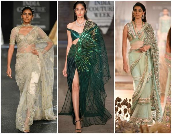 the best saris seen on the runways at india couture week 2019