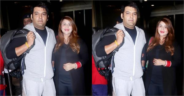 kapil sharma spotted at airport with wife ginni chatrath