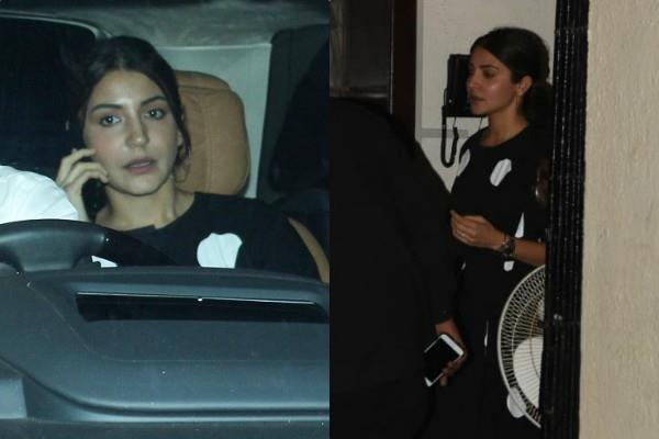anushka sharma spotted outside the shabana azmi house