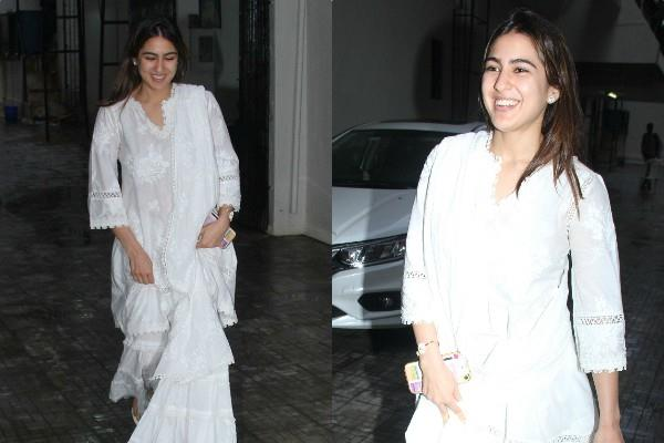 sara ali khan spotted outside old dharma office khar