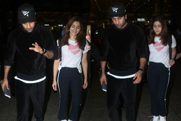 alia bhatt spotted at airport with ranbir kapoor