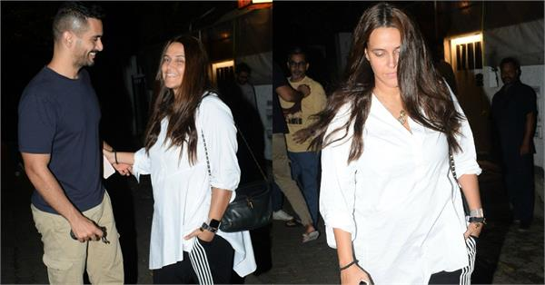 neha dhupia spotted at dinner date with hubby angad bedi
