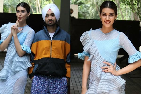 kriti sanon diljit dosanjh spotted for movie promotion