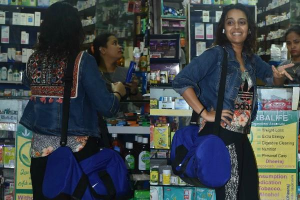 swara bhaskar spotted at a medical store in juhu