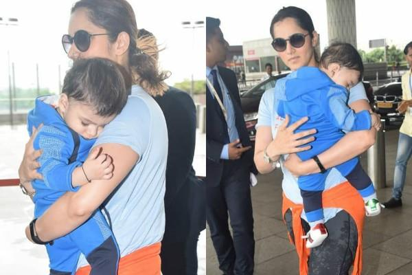 sania mirza snapped at airport with son izhaan mirza malik