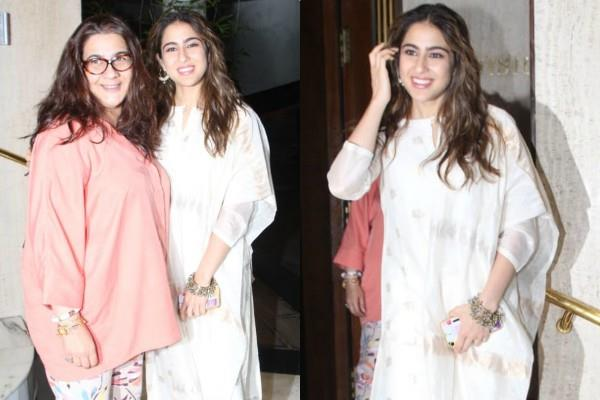 sara ali khan spotted outside designer manish malhotra s home with amrita singh