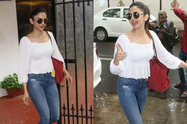 rakul preet singh spotted outside the anand pandit office in juhu