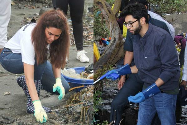 esha gupta beach cleaning drive at bandra with aditya thackeray