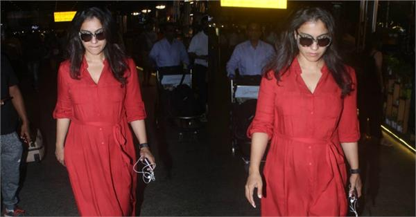 kajol looks gorgeous in a red full length dress at airport