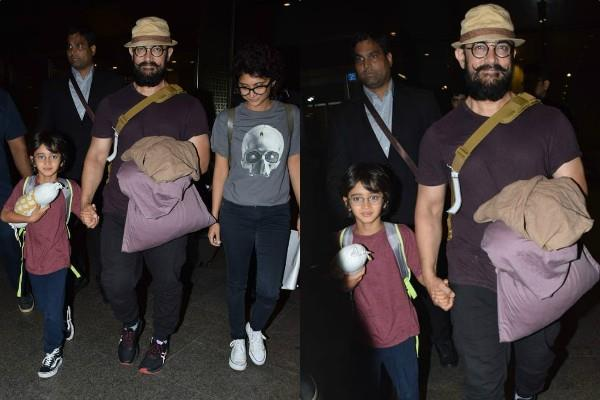 aamir khan spotted at airport with wife kiran rao and son azad