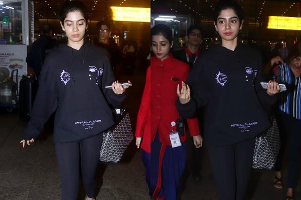 khushi kapoor spotted at mumbai airport