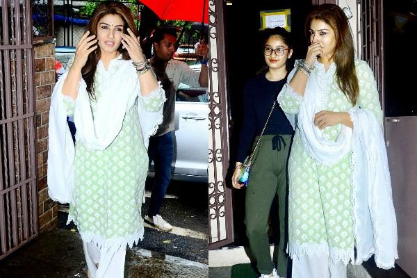 raveena tandon spotted with her daughter outside dubbing studio