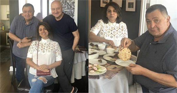 rishi kapoor neetu singh lunch date at the house of anupam kher in new york