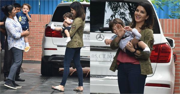 sunny leone latest pictures with son asher singh weber