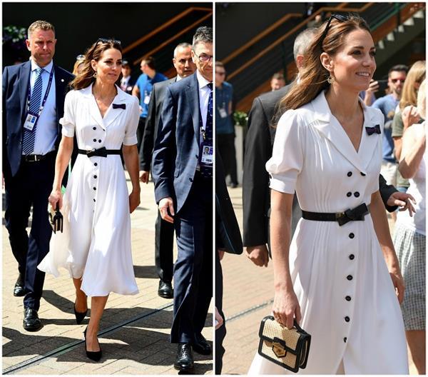 kate middleton in white dress for wimbledon tennis tournament