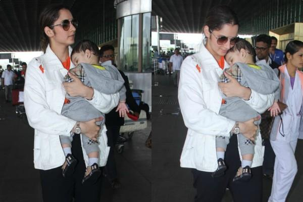 sania mirza spotted at airport with son izhaan