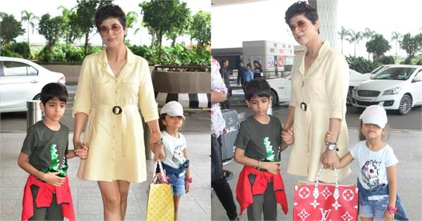 tahira kashyap spotted at the mumbai airport with kids