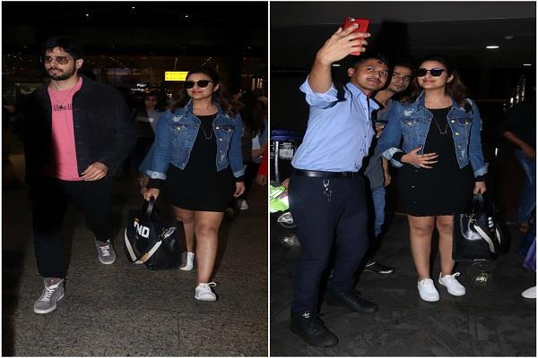 jabariya jodi spoted at airport