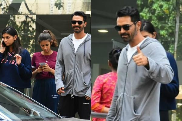 arjun rampal visited at hospital with daughter