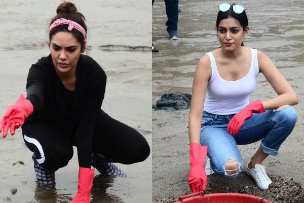 esha gupta cleaning drive at dadar beach with naveli deshmukh
