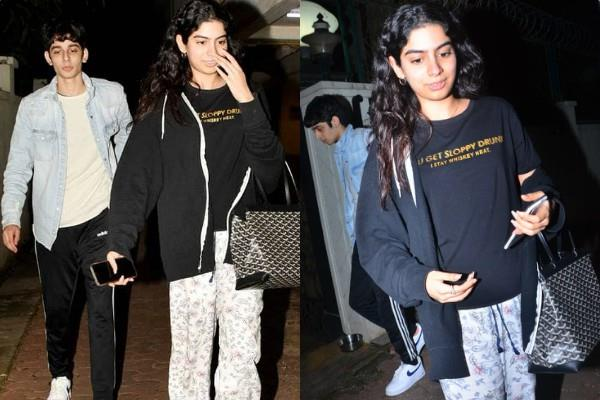 khushi kapoor spotted at brother arjun kapoor house with a mystery boy