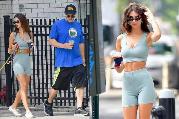 emily ratajkowski flashes her toned stomach in crop top