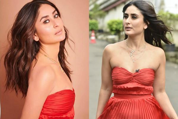 kareena kapoor khan red strapless gown pictures