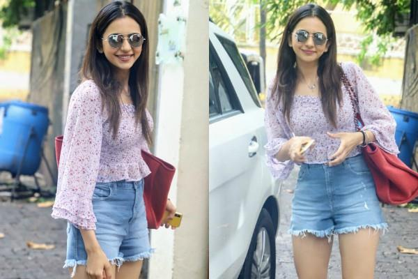 rakul preet singh spotted at dubbing studio