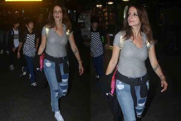 hrithik roshan ex wife sussanne khan spotted at airport with sons