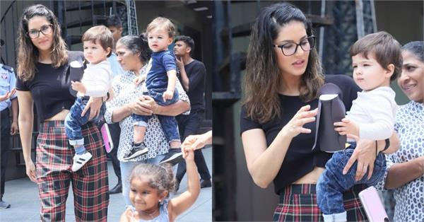 sunny leone latest pictures with kids