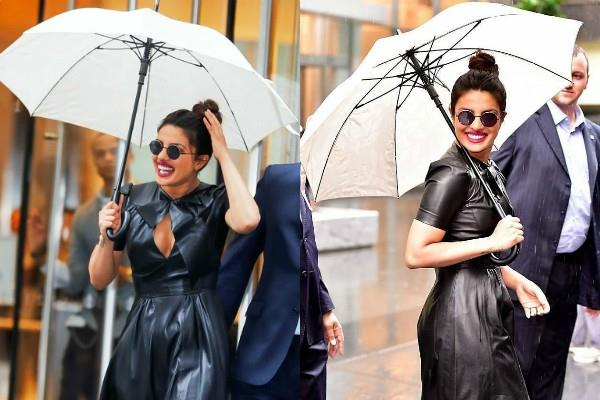 priyanka chopra looks stunning in a black leather dress