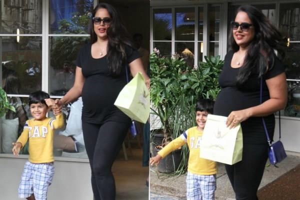 pregnant sameera reddy latest pictures with son