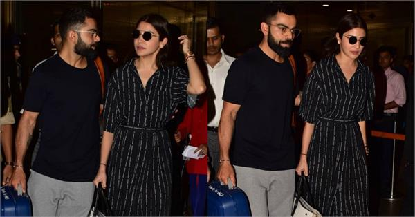 virat kohli returns to india with wife anushka sharma