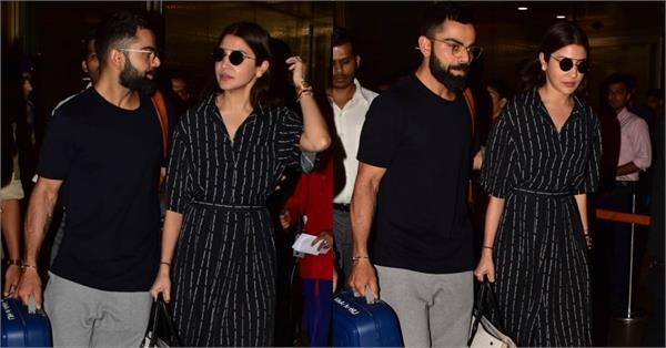 virat kohli returns to india with wife anushka sharma