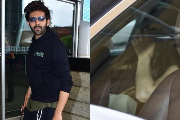 sara ali khan kartik aryan spotted at airport