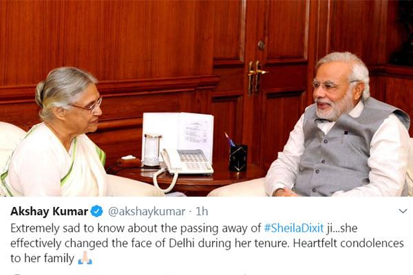 akshay kumar tweet extremely sad the passing away of sheila dixit