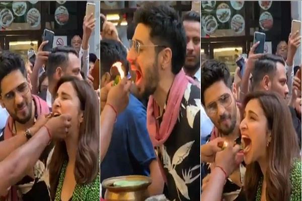 sidharth and parineeti enjoy fire paan in delhi during jabariya jodi promotion