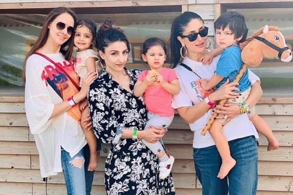 kareena kapoor and soha ali khan in farm house with taimur and inaaya at london