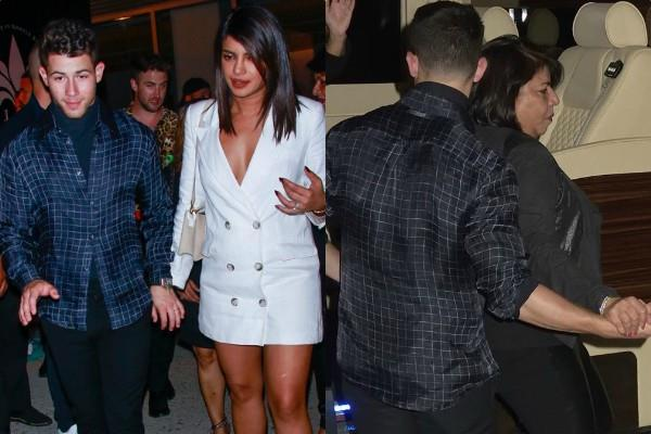 nick jonas spotted at event with wife priyanka chopra and mother in law