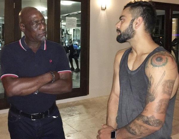 kohli meets vivian richards of windies before last match told the biggest boss