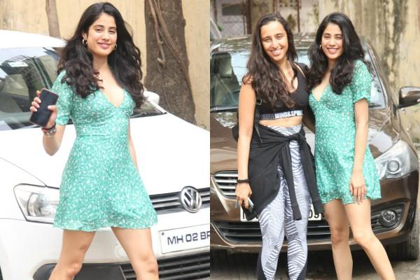 jhanvi kapoor spotted at pilatus in short dress